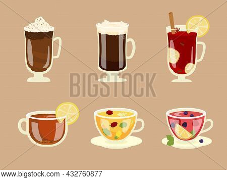 Set Of Winter Hot Beverages In Glass Cups. Coffee And Tea. Hot Chocolate, Mulled Wine, Coffee, Herba