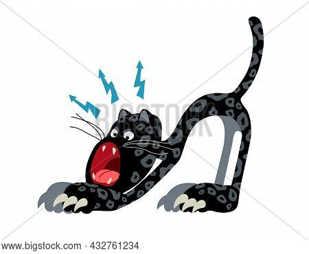 Roaring Black Panther With Lightning Bolts, Funny Character, A Color Vector Illustration Isolated On