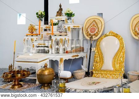 Set Of Altar Table And Monk 's Seats In House Ceremony Celebrate For New House,buddha Statue Placed