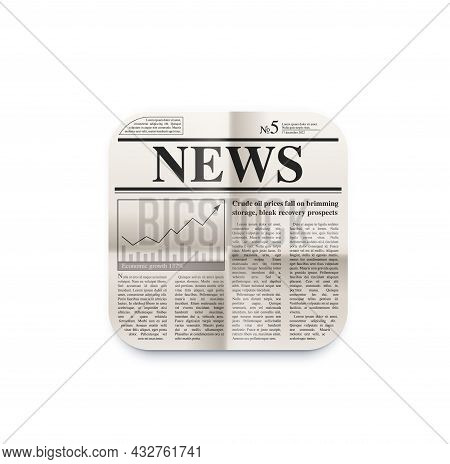 News And Newspaper Icon. Daily Breaking News, Financial Information Newsletter Feed Subscription, Sm