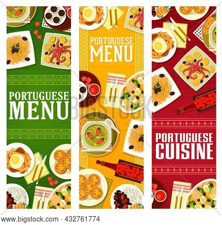 Portuguese Cuisine Menu Vector Banners Of Meat, Seafood And Vegetable Dishes, Desserts And Cherry Li