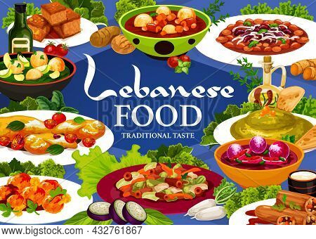Lebanese Food Menu Cover With Arab Cuisine Vector Dishes. Hummus, Vegetable Dumpling Soups And Meat