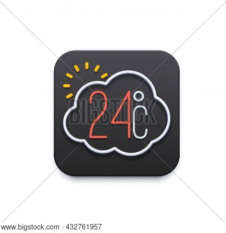 Climate And Weather Icon, App Or Mobile Ui Template, Vector Temperature Forecast. Weather Widget For