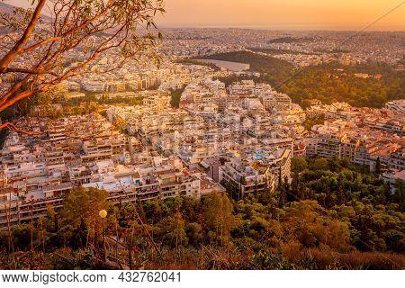 Sunset Athens Aerial Skyline Autumn View, Greece