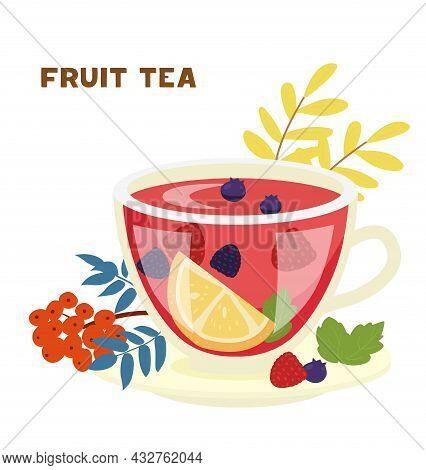 Fruit Tea Glass Cup With Orange, Raspberry, Blueberry, Blackberry, Mint Leaves Vector Illustration.