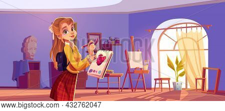 Girl Painter In Art Studio With Canvas And Brushes On Easel, Paints On Shelves And Colored Pencils.