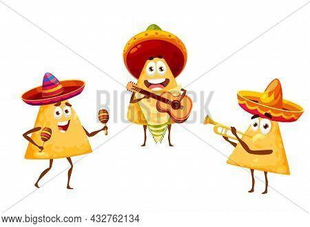 Mexican Nachos Chips As Mariachi Musicians In Sombreros, Vector Mexico Fiesta Cartoon Food Character