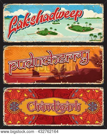 Lakshadweep, Puducherry And Chandigarh Indian States Vintage Plates Or Plaques. Vector Travel Destin