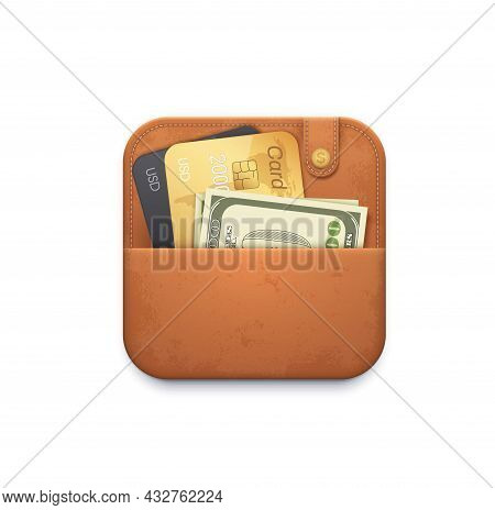 Leather Wallet Purse Icon With Credit Cards And Cash Money Vector Icon. Finance Application Interfac