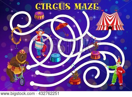 Circus Labyrinth Maze With Vector Clowns And Trained Animals. Kids Education Game, Puzzle, Riddle Or