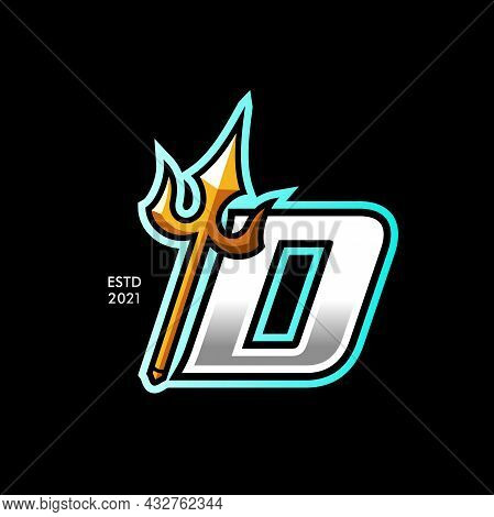 Modern And Colorful Illustration Logo Design Initial D Gold Trident.