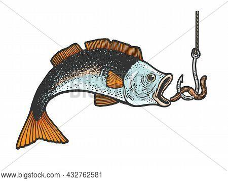 Fish Catch Bait Worm On Hook Fishing Color Sketch Engraving Vector Illustration. T-shirt Apparel Pri