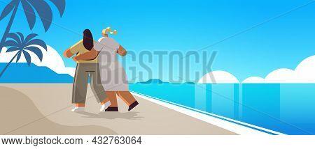 Two Girls Hugging On Beach Gay Lesbian Love Parade Pride Festival Transgender Love Concept Seascape