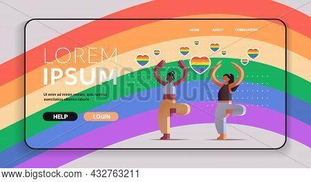 Mix Race Girls Lovers Doing Physical Exercises Lesbian Love Parade Transgender Lgbt Concept Horizont