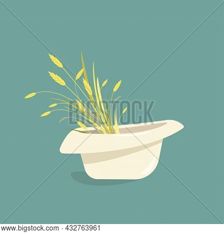 Summer Bouquet With Ears Of Wheat, Barley Or Rye And Blades Of Grass In White Panama Hat. Vector Ill