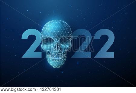 Abstract Blue Scull And Number 2022 New Year Greeting Card.