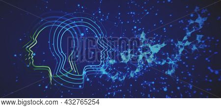 Glowing Artificial Intelligence Background With Head Outline And Polygonal Mesh. Ai, Machiner Learni