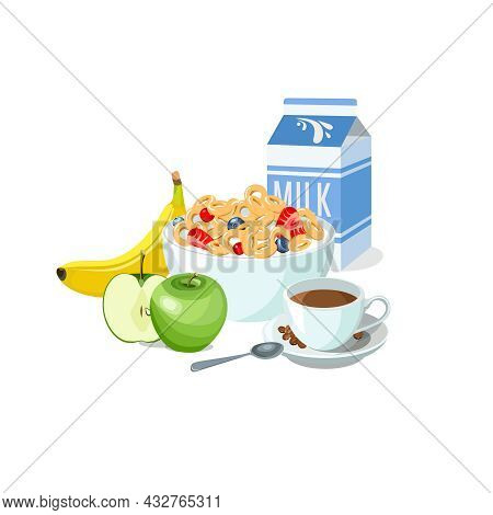 Sample Breakfast Plate Corn Flakes With Milk, Fruits And Coffee. Classic Hotel Breakfast Set For Men