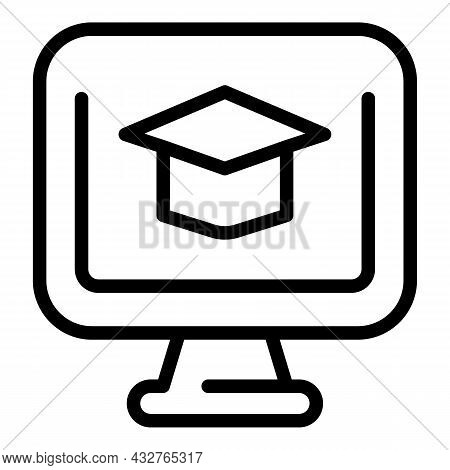Monitor Learning Icon Outline Vector. School Training. Learn Online