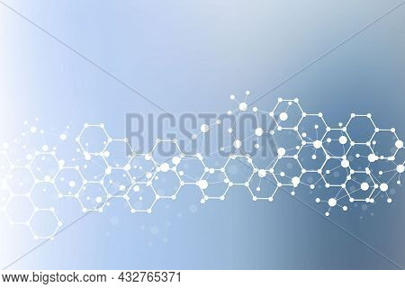 Science Network Pattern, Connecting Lines And Dots. Technology Hexagons Structure Or Molecular Conne