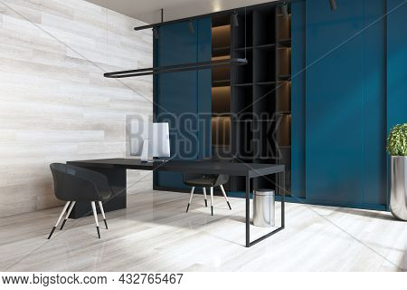 Modern Blue And Wooden Home Office Interior With Workplace, Bookcase And Daylight. 3d Rendering
