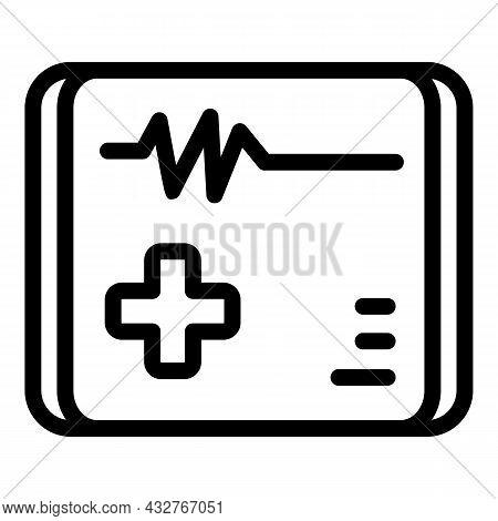 Medical Cardiac Aid Icon Outline Vector. Heart Pulse. Anatomy Doctor