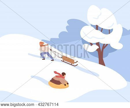 Kids Sliding On Tube And Sledge Down The Hill On Winter Holiday. Children Riding Sleds On Slope Cove