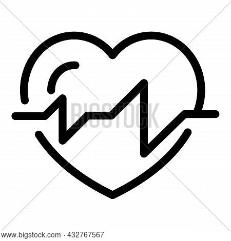 Healthy Heartbeat Icon Outline Vector. Heart Beat. Cardiogram Palpitation