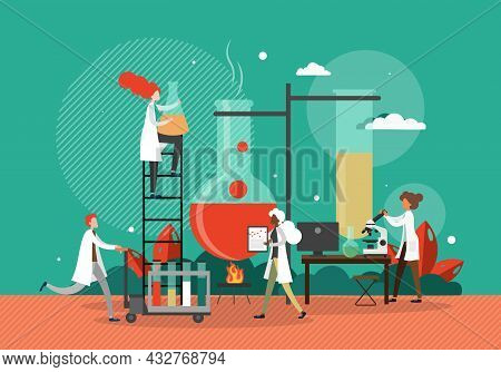 Scientists Conducting Scientific Experiments In Chemistry Lab, Flat Vector Illustration. Science Lab