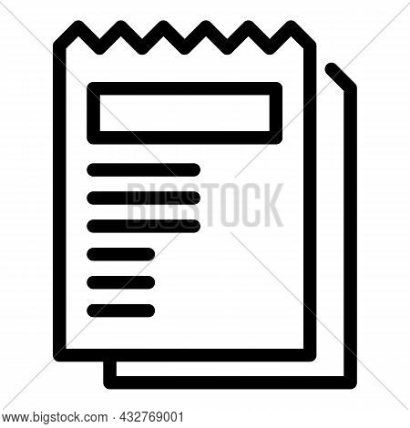 Bill Paper Icon Outline Vector. Payment Invoice. Business Receipt