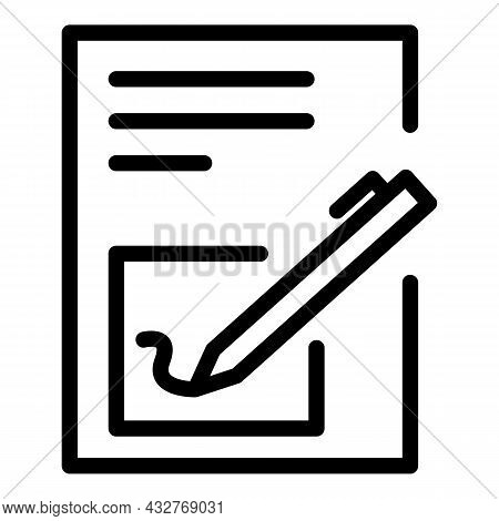 Contract Signature Icon Outline Vector. Pen Document. Paper Agreement