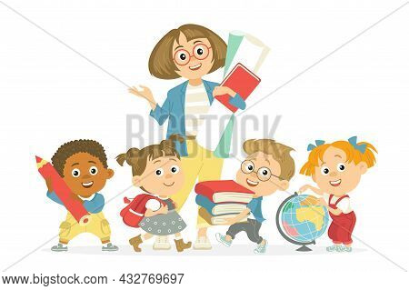 Students With Teacher. Kids With Pedagogue, Woman Surrounded By Children With Flowers Bouquet, Prima