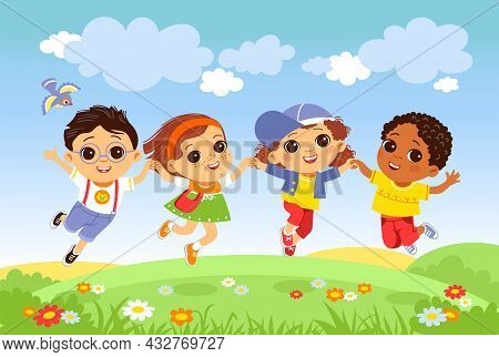 Kids Jumping Grass. Happy Children Having Fun On Nature, Joyful Boys And Girls Outdoor Activity, Lit