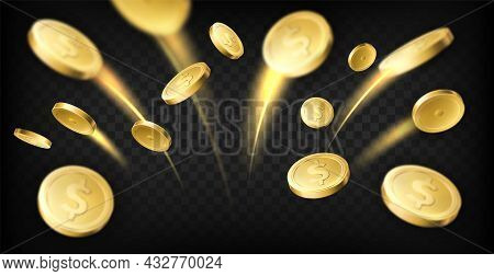 Golden Coins Explosion. Realistic Dollar Coins Flying With Moving Traces, Gambling Games Prize, Casi