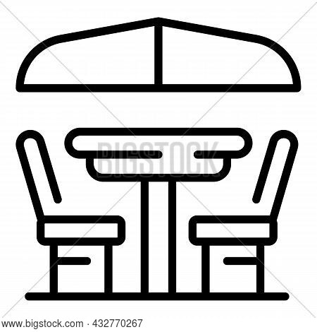 Patio Table Icon Outline Vector. Outdoor Picnic. Wooden Table