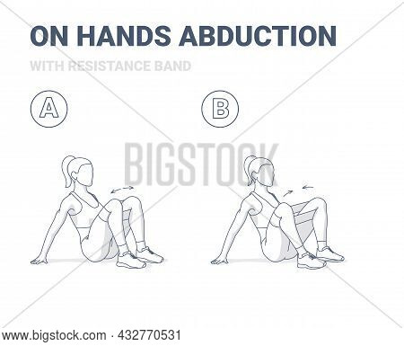 Woman Doing On Hands Hips Abductions Home Workout Exercise With Resistance Band Illustration.