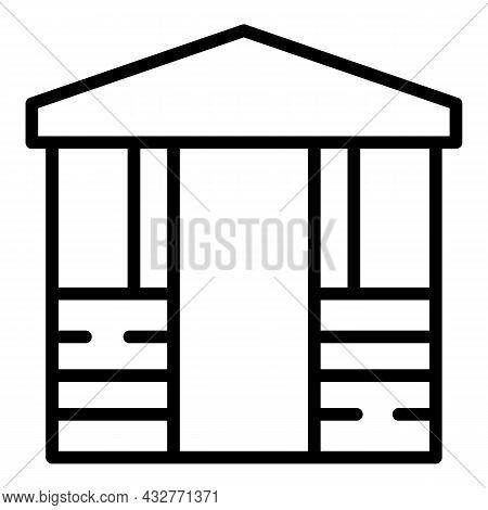Gazebo Icon Outline Vector. Pergola Pavilion. Garden Patio