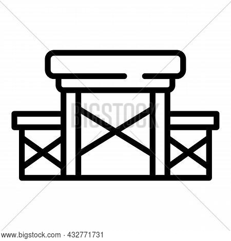 Picnic Table Chair Icon Outline Vector. Foldable Bench. Farden Compact