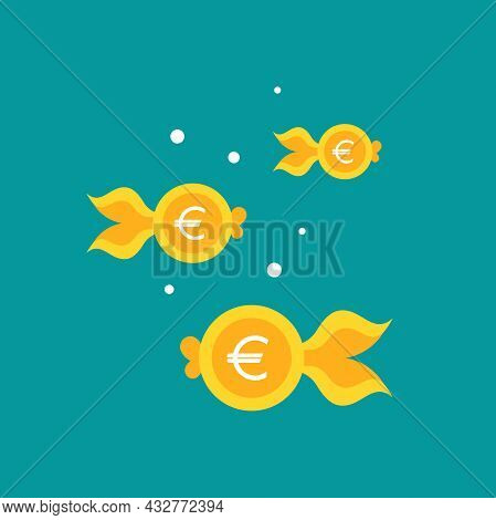 Goldfish. Euro Coin As Golden Fish. Flat Icon Isolated On Blue Background. Free, Easy Catch Money. E