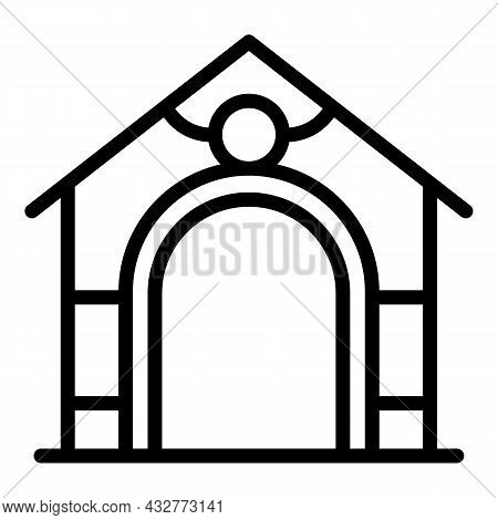 Pet Kennel Icon Outline Vector. Dog House. Animal Kennel