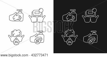 Hand Hygiene Linear Icons Set For Dark And Light Mode. Wash With Brick Soap. Antimicrobial Skin Clea