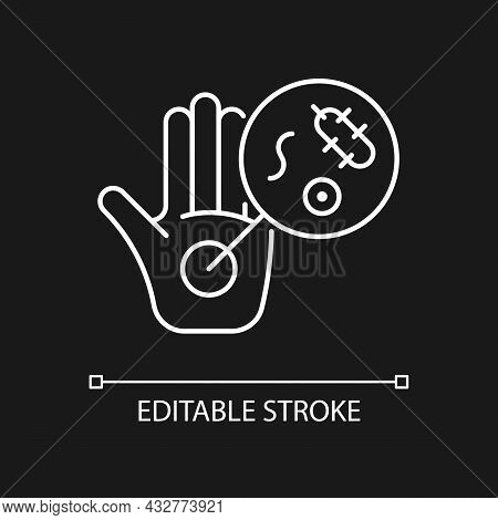 Dirty Hands White Linear Icon For Dark Theme. Germs On Unwashed Hands. Spread Infectious Diseases. T