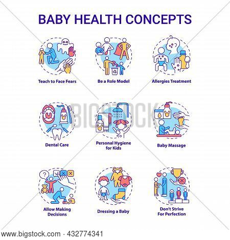 Baby Health Concept Icons Set. Infant Care Idea Thin Line Color Illustrations. Bringing Up Baby. Chi