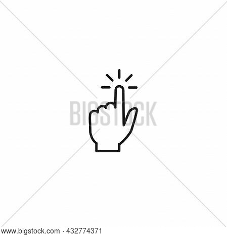 Swipe Up, Tap Or Push The Button. Pointing Hand. Flat Black Picrtogram Isolated On White. Touch Scre