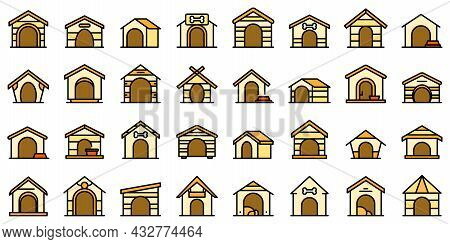 Dog Kennel Icons Set Outline Vector. Pet Accessory. Dog Canine Cabin
