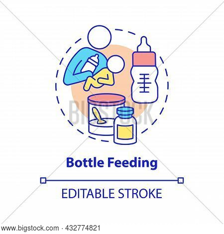 Bottle Feeding Concept Icon. Feed Baby With Formula Abstract Idea Thin Line Illustration. Feeding Po