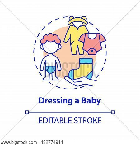 Dressing Baby Concept Icon. Change Baby Clothes Abstract Idea Thin Line Illustration. Child Care And