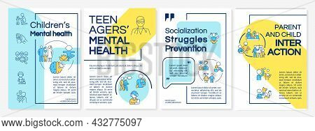 Children Mental Health Blue And Yellow Brochure Template. Flyer, Booklet, Leaflet Print, Cover Desig