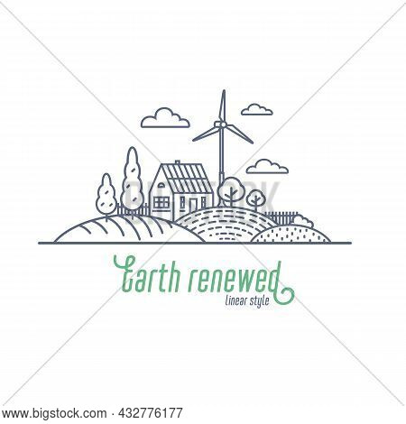 Earth Renewed Concept Thin Line Vector Illustration. Windmill And Solar Energy As An Alternative Ele