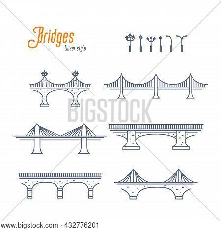 Bridges And Street Lamps Line Vector Set. Various Bridges And Streets Lights. Outline Style Vector I